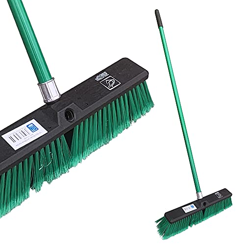 "Stiff Yard Brush Heavy Duty Outdoor Broom – 18"" Wide Garden Broom with Firm Synthetic Bristles..."