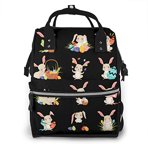 UUwant Sac à Dos à Couches pour Maman Large Capacity Diaper Backpack Travel Manager Baby Care Replacement Bag Nappy Bags Mummy Backpack,(Cute Cartoon Bunnies Holding Colored Eggs