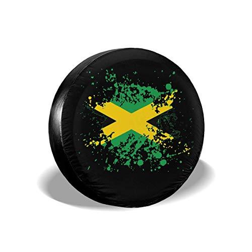 GOSMAO Fundas para neumáticos para fanáticos de los Deportes, Bandera de Jamaica, Salpicaduras de Tinta, Cubierta para neumáticos de Rueda de Repuesto, Apta para remolques, caravanas, 16 Pulgadas