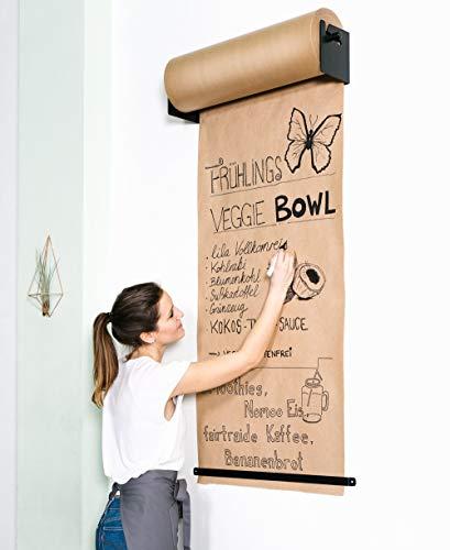 CozyHome Studio Roller – Stylische Wand Papier-Halterung für Büro, Café oder Zuhause – Innovative Alternative zu Whiteboard, Flipchart, Memoboard oder Kreidetafel (Studio-Roller + Papier)