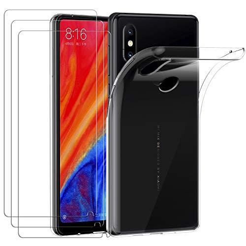 ivoler Funda para Xiaomi Mi Mix 2S, con 3 Unidades Cristal Templado, Transparente Suave TPU Silicona Carcasa Protectora Anti-Choque Caso Delgada Anti-arañazos Case