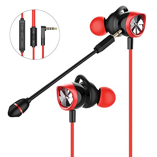 In Ear Gaming Headset Langsdom, Gaming Earphones mit abnehmbaren Mikrofon, 3.5mm Noise Cancelling Gaming Headphones für Computer, Laptop, Handy (Rot)