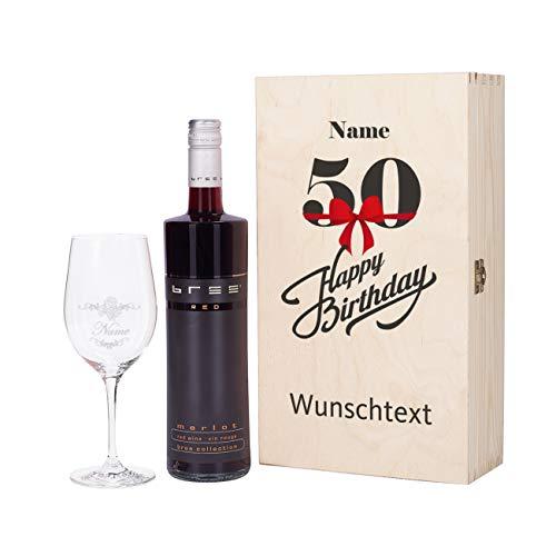 Herz & Heim® Bree Wein-Präsent zum 50. Geburtstag mit graviertem Weinglas und Bree Wein zur Auswahl in Geschenkkiste Rot