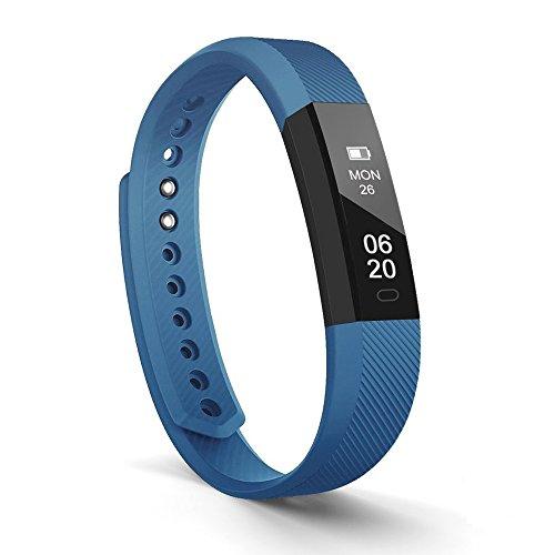 Lintelek Pulsera de fitness con rastreador de fitness, reloj inteligente, notificaciones, llamadas, SMS, recordatorio, podómetro, monitor de sueño, rastreador de actividad para Android e iOS