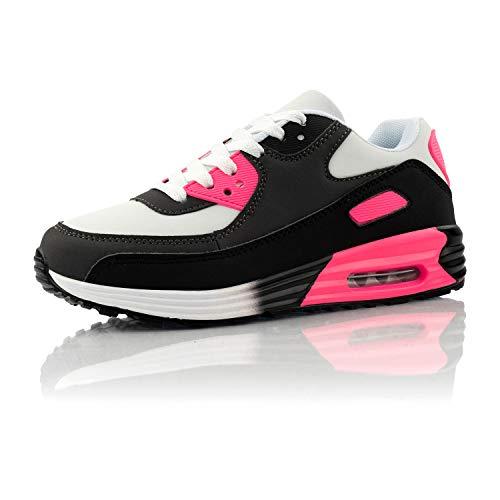 Fusskleidung® Damen Herren Sportschuhe Dämpfung Sneaker leichte Laufschuhe Schwarz Grau Pink EU 38