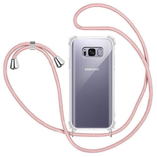 Funda con Cuerda para Samsung Galaxy S8 Plus, Carcasa Transparente TPU Suave Silicona Case con Correa Colgante Ajustable Collar Correa de Cuello Cadena Cordón para Samsung Galaxy S8 Plus - Oro Rosa