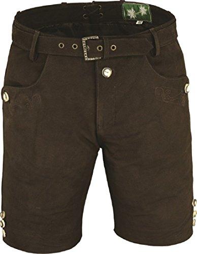 Klassische echt Leder Nubuk Trachten Lederhose Herren kurz, Damen Trachtenlederhose mit Gürtel in Braun (50, Braun)