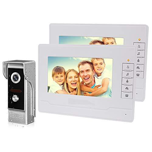NN99 Farbe 7-Zoll-TFT-Video-Türsprechanlage Intercom System Kit Video-Türklingel-Kamera 700TVL IR Nachtsicht + 2 Innenmonitore Türsprechanlage für Zuhause