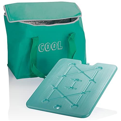 com-four® Kühltasche mit Kühlelement- kleine Faltbare Thermo-Kühlbox, leichte Isoliertasche für Camping & Outdoor, sommerliche Picknicktasche (1 Stück - Grün - 15l)