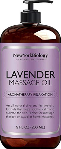 New York Biology Lavender Massage Oil - 100% Natural Ingredients - Sensual Body Oil Made with Essential Oils for Muscle Relaxation and Deep Tissue - 9 Fl. oz