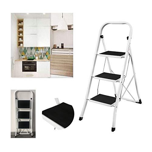 Trittleiter 3 Stufen Stahl-Klapptritt Rutschfest Stehleiter Einfacher Transport und Aufbewahrung für die Küche Heim Büro DIY-Malerei Mehrzweckleiter, bis 150 kg belastbar