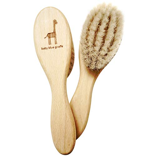 Super Soft Baby Hair Brush by baby blue giraffe: 100% Made in Germany from All Natural Beech Wood and Goat Hair