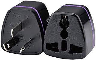 Universal Travel Power Plug Adapter AU Australian to USA EU Euro UK Slim 3Pin [2 PCS ]–Black