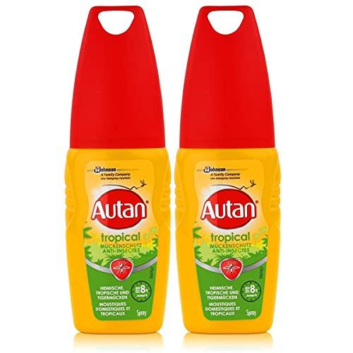 Autan Anti-zanzare Tropical Spray 100 ML protegge contro le zanzare anche in caso di alta umidità e sudore fino a 8 ore (2 pezzi)