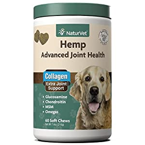 NaturVet Hemp Advanced Joint Health Dog Supplement Plus Hemp Seed – Helps Support Joint Health in Dogs – Includes, Collagen, Glucosamine, MSM, Chondroitin, Omegas – 60 Ct.