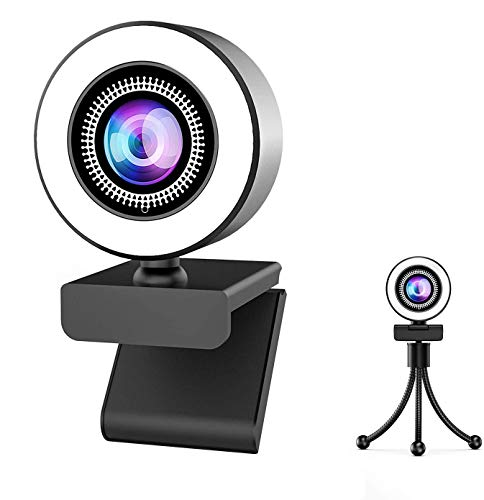 Webcam with Microphone, Ring Light-HD Computer Camera with Privacy Cover & Tripod,Pro Streaming Web Cam for PC/MAC/Desktop/Laptop,USB Web Camera for YouTube, Skype, Zoom,Xbox One and Video Calling