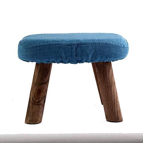 ENOLLA Hocker Fußhocker Tritthocker Arbeitshocker Beauty Roller Hocker 4 Fuß Holztuch mehrfarbig Auswahl blau
