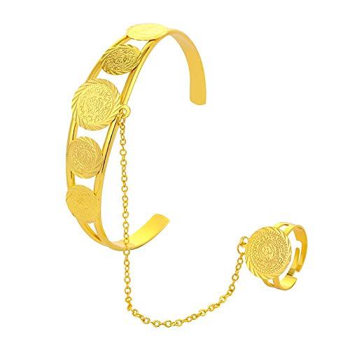 Inveroo Oro Color Dinero Moneda Pulsera para Mujeres Hombres Joyería De Oriente Medio Musulmán Musulmán Árabe Monedas Pulsera Cumpleaños Regalo De Cumpleaños
