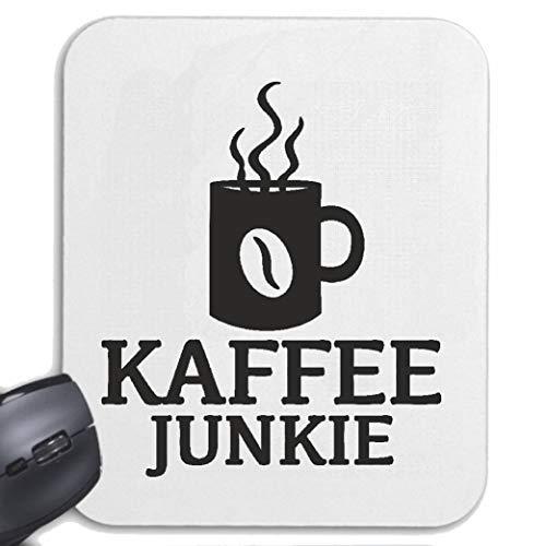 Helene Mousepad Mauspad Kaffee Junkie - Freitag - Montag - Fun Shirt - Party für ihren Laptop, Notebook oder Internet PC mit Windows Linux in Weiß