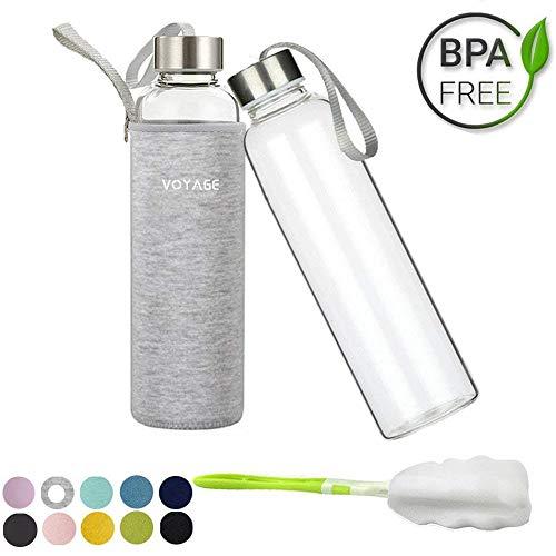 Voarge Glasflasche - BPA-frei 550ml Trinkflasche Classic mit Nylon Tasche - für Auto - für Unterwegs Sport Flasche Glas Flasche Water Bottle Wasserflasche Trinkflasche aus Glas (Grau)