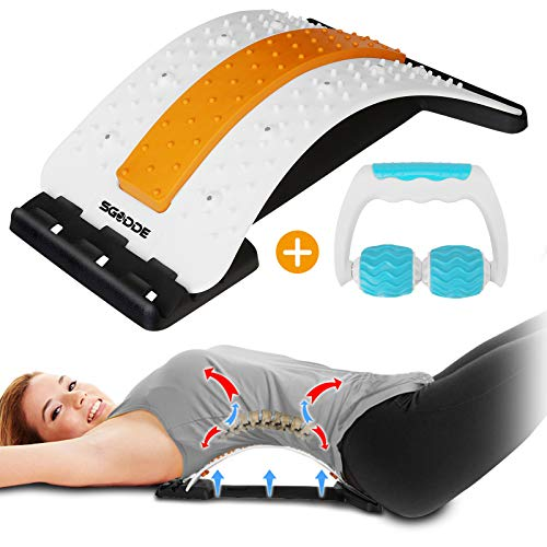 Back Stretcher with Muscle Roller, SGODDE Back Stretcher for Pain Relief, Multi Level Lower Back...