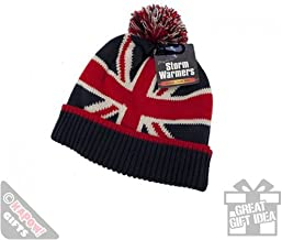 Pop Art Products Knitted Union Jack Pom Pom Winter Hat Bobble Hat Beanie Cool British Britain