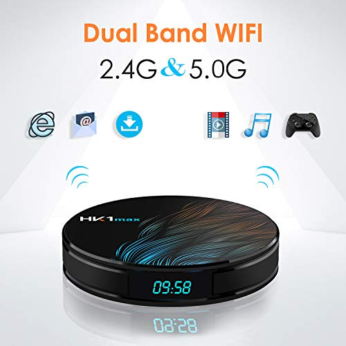 Xilibod HK1 Max Android 9.0 TV Box 4GB RAM 64GB ROM RK3318 5G/2.4G WiFi with Bluetooth 3D 4K 1080P Smart TV Box - Model No.: HK1max 4GB 64GB