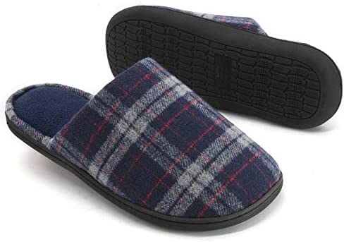 RockDove Men s Plaid Scuff with Memory Foam Size 13 14 US Men Navy product image