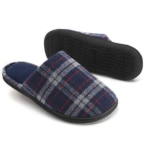RockDove Men's Plaid Scuff with Memory Foam, Size 9-10 US Men, Navy