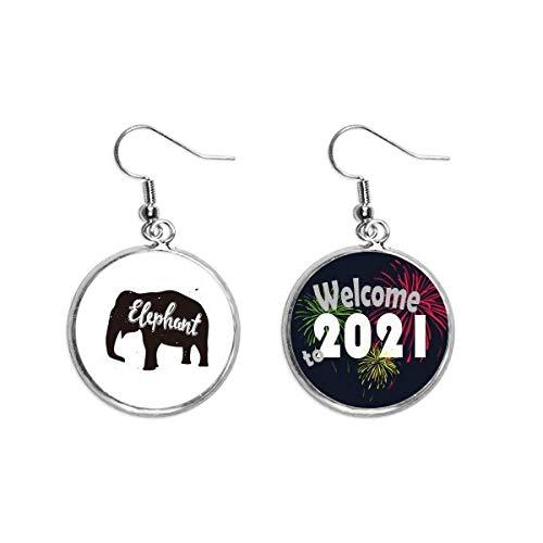 Elefante Negro Y Blanco Animal Oído Colgantes Pendientes Joyería 2021 Bendición