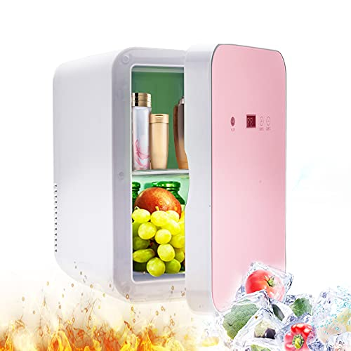 MATHOWAL Mini Fridge with Freezer 8L, Portable Car Home Small Refrigerator with AC/DC Power Cooler & Warmer Personal Mini Fridge for Beverage, Makeup Storage, Food, Bedroom Car Office Dorm(Rose gold)