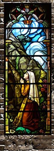 Tamaño personalizado de la ventana de la etiqueta Engomada estática de la iglesia manchada patrón de la ventana de vinilo decoración del hogar de protección de la privacidad lámina de 50 cm x 100