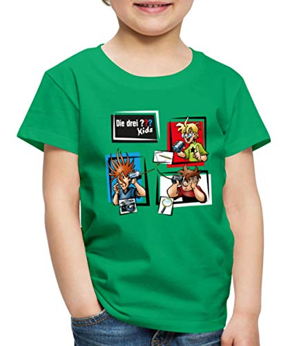 Die DREI Fragezeichen Kids Detektive und Gadgets Kinder Premium T-Shirt, 134-140, Kelly Green