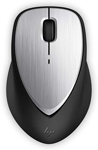 HP ENVY 500 (2LX92AA) kabellose Maus (wiederaufladbar, 1.600 dpi, Akkulaufzeit bi zu 11 Wochen, 3 Tasten, Scrollrad, USB dongle) schwarz / silber