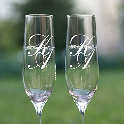 Juego de 2 copas de champán personalizadas para novio y novia, copas de champán con...