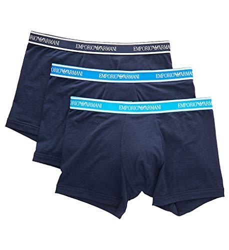 Emporio Armani Underwear Herren Multipack - Core Logoband 3-Pack Boxer Boxershorts, Blau (Marine/Marine/Marine 64135), Medium (Herstellergröße:M)