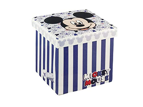 Disney Box – Pouf de rangement pour jouets, pliable, multi-usages (Bleu)