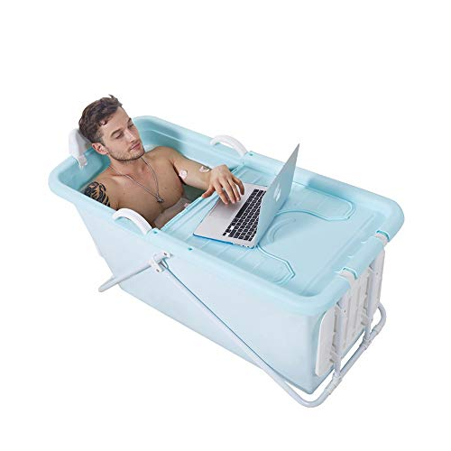 HUACANG Plegable Adulto Bañera, Diseño De La Cubierta Aislamiento De Baño A Largo Plazo Baño De Niños Estable Marco De Aleación Apoyo (Color : Azul)