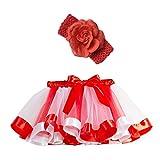 Ropa Infantil Moda 2-11 años Niño Infantil BEBÉ Chica Falda Arco Iris Tutu Fiesta Baile Ballet Mini Vestido Falda Princesa + Conjunto de Bandas para el Cabello 2 Piezas (Rosa Caliente, M 4-7 años)