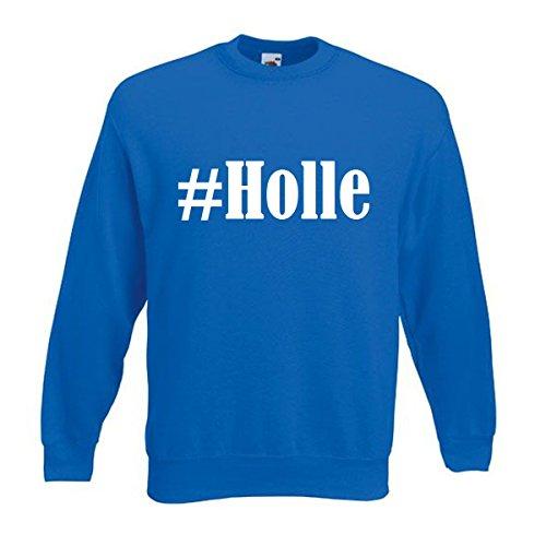 """Reifen-Markt Sudadera Hashtag #Holle para mujer, hombre y niños en los colores negro, blanco y azul con impresión azul 08Mujer """"Medium"""""""