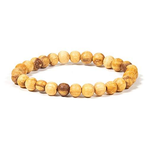 Spiru Palo Santo - Pulsera de perlas redondas M elástica