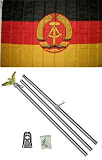 ALBATROS 3 ft x 5 ft East Germany Flag Aluminum with Pole Kit Set for Home and Parades, Official Party, All Weather Indoors Outdoors