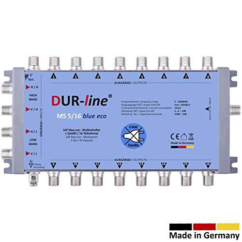 DUR-line MS 5/16 Blue eco Stromspar Multischalter - für 16 SAT Teilnehmer/TV - kein Netzteil notwendig - 0 Watt Standby Multiswitch [Digital, HDTV, FullHD, 4K, UHD]