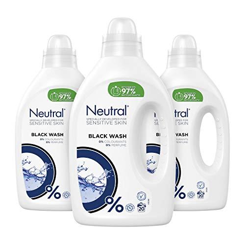 Neutral Zwart Wasmiddel Parfumvrij 3 x 20 wasbeurten - 3 x 1 L Voordeelverpakking