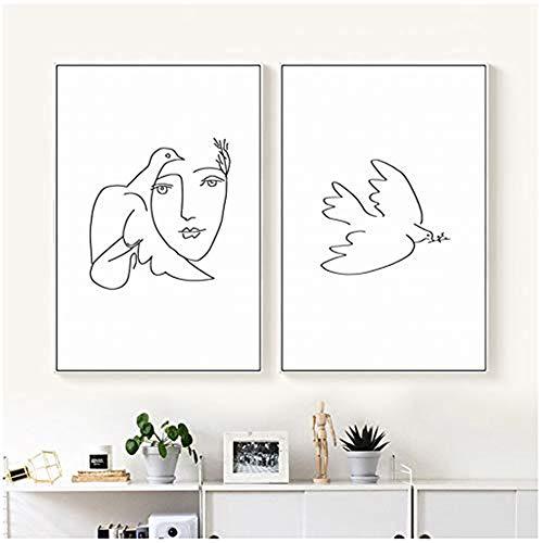 YCCYI Malerei Leinwand drucken Poster Picasso Friedenstaube abstrakt Schwarz-Weiß-Linie Kunst Bild Wand Wohnzimmer Wohnkultur 60x80cm (23,6x31,5 Zoll) x2 Kein Rahmen