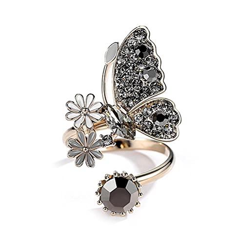 Anillos abiertos de mariposa retro para mujer, estilo gótico, anillo de diamante negro, regalo para boda, cumpleaños, fiesta