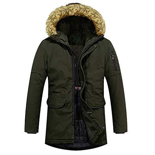 Plot Herren Winterjacke Warm Einfarbig Winterparka mit Kapuze Fellkragen Parka Jacke Mantel Winter Outdoor Casual Kapuzenjacke Outwear Coat