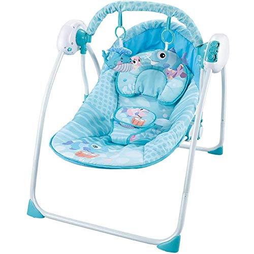 WYJW Baby Comfort schommelstoel multifunctionele muziek elektrische opvouwbare draagbare baby wiegstoel 0-3 jaar oud, Blauw, 1