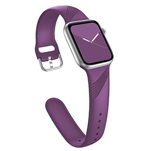 Doasuwish Sport Band Compatible with Apple Watch Series 3 Band 38mm 40mm for Women Soft Waterproof Silicone Wristband Replacement Strap Compatible with iWatch Band Series 6 5 4 3 2 1 SE, Dark Purple