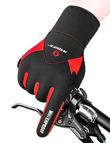 INBIKE Guantes Calientes De Ciclismo De Invierno, Guantes De Pantalla Táctil para Hombre con Dedos Completos Cortavientos E Impermeable(Rojo,XL)
